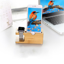 2 in 1 Bamboo Desktop Stand, Bracket Docking Holder Charger for Apple Watch 38mm/42mm for iphone All Mobile Phone Desktop Holder