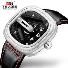 TEVISE Luxe Mannen Mechanische Horloge Mode Dial Kalfsleer Band Horloge Automatische Beweging Waterdicht Montre Homme Relogio Masculin
