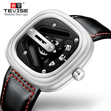TEVISE الفاخرة الرجال الميكانيكية ساعة الموضة الهاتفي جلد العجل حزام ساعة الحركة التلقائية مقاوم للماء Montre أوم Relogio Masculin