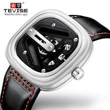 TEVISE יוקרה גברים מכאני שעון אופנה חיוג עגל רצועת שעון אוטומטי תנועה עמיד למים Montre Homme Relogio Masculin
