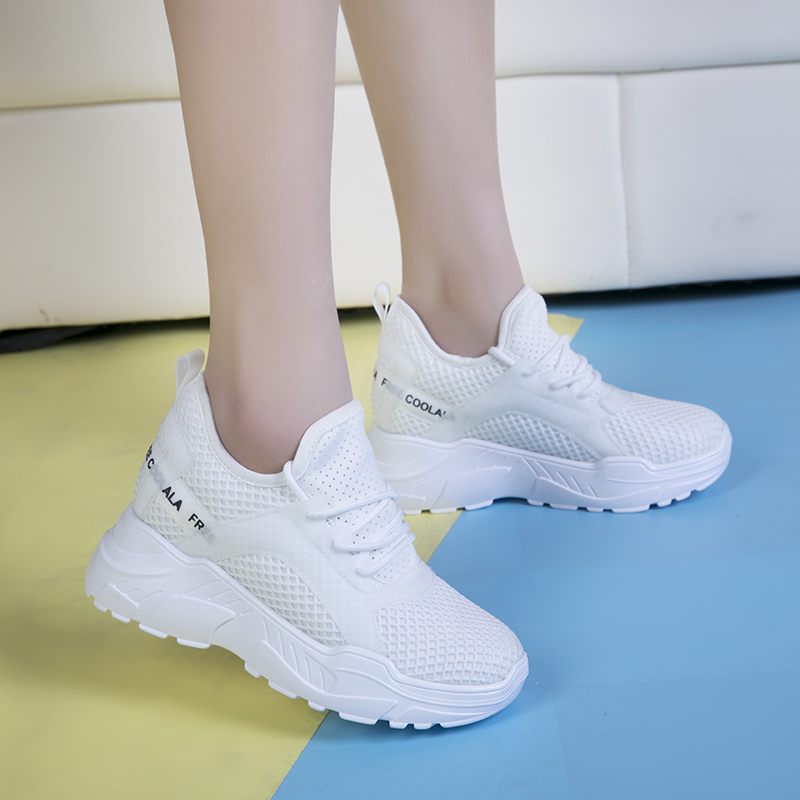 WADNASO Thick Bottom Women Fashion Sneakers Breathable Pu Casual Shoes Woman Lace Up White Platform Sneaker Zapatillas Mujer SH4