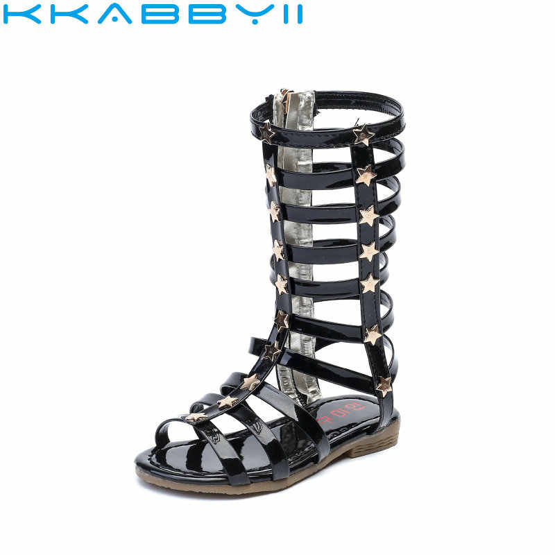 1dc3d1fff0 New Summer Girl Roman Sandals Hollow Woven Sandals Princess Shoes Darts  Gladiator Baby Boots Girls Fashion