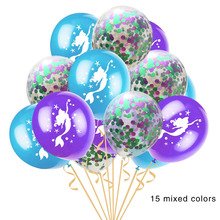15 Pieces Color Mix Set Unicorn Mermaid Balloons 12 Inch Transparent Latex Gold Paper Rose Confetti Fragments Ball