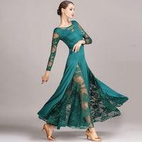 Sexy Lace Ballroom Dance Dress For Woman Long Sleeves Waltz Tango Dance Dresses Standard Ballroom Dress Black/red/blue/green