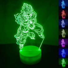 Dragon Ball Z Saiyan Son Goku 3D LED Night Light 7 Colors Change Desk Table Lamp Bedroom Sleep Lighting Fixture Decor Gifts