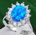 FREE SHIPPING>>>@@ RARE BLUE FIRE OPAL SILVER ring #2286