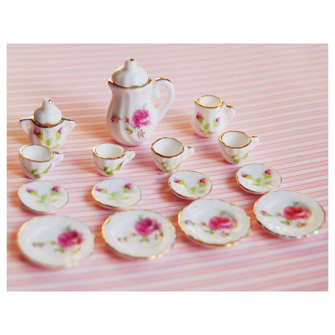 1/12 Scale Dollhouse Miniatures Porcelain Coffee Tea Cups Dishes 15PCS
