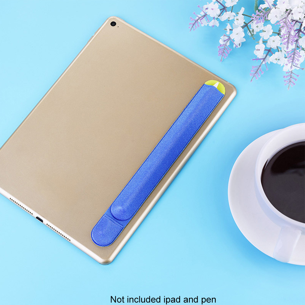 Artificial Flannel Back Adhesive Portable Scratch Prevention Elastic Sticker Pocket Holder Non Slip Pencil Case For IPad