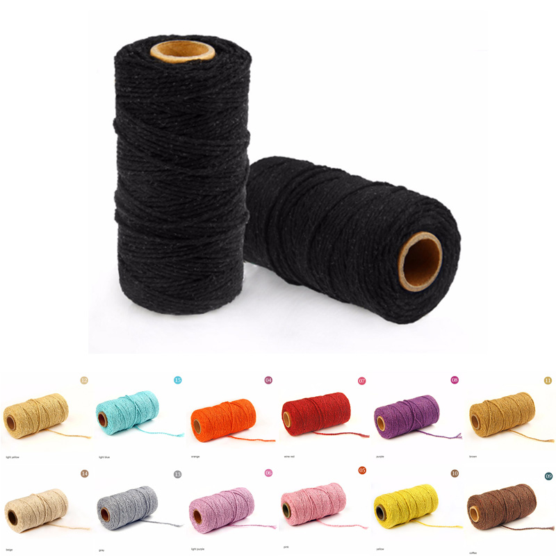 100 Yards 19 Colors Twisted Macrame Cord Sewing Thread Handmade Artisan String Rope Craft Cotton Cords DIY Home textile Supplies