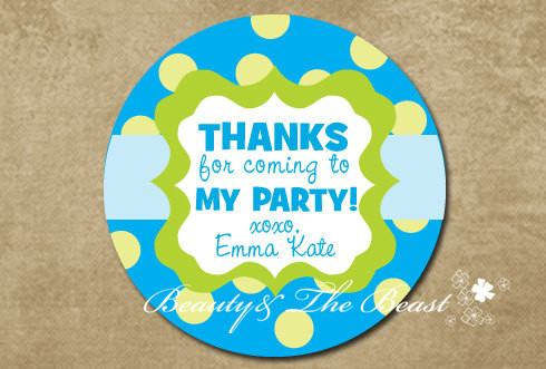 Personalized Blue Gift Sticker Custom Party Favor Bag Labels Tags Birthday Decorations Kids