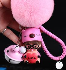 Cartoon pink blue pig love heart Bell Decoration Monchichi KIKI fur pompom Key holder Keychain keyring Women Bag Jewelry pendant