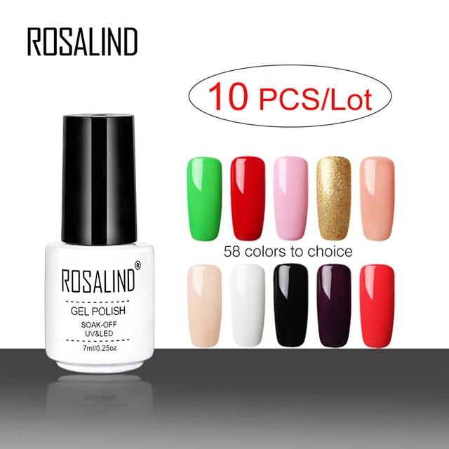 ROSALIND 10PCS/Lot Free Choice Gel varnish Pure Color Series UV gel nail polish Need Base&Top Coat Gel glue