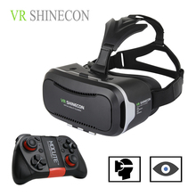 Hot 3D VR Virtual Reality 3D Glasses VR SHINECON 2.0 Google Cardboard Helmet with Bluetooth Remote Control Gamepad for 4.7-6.0″