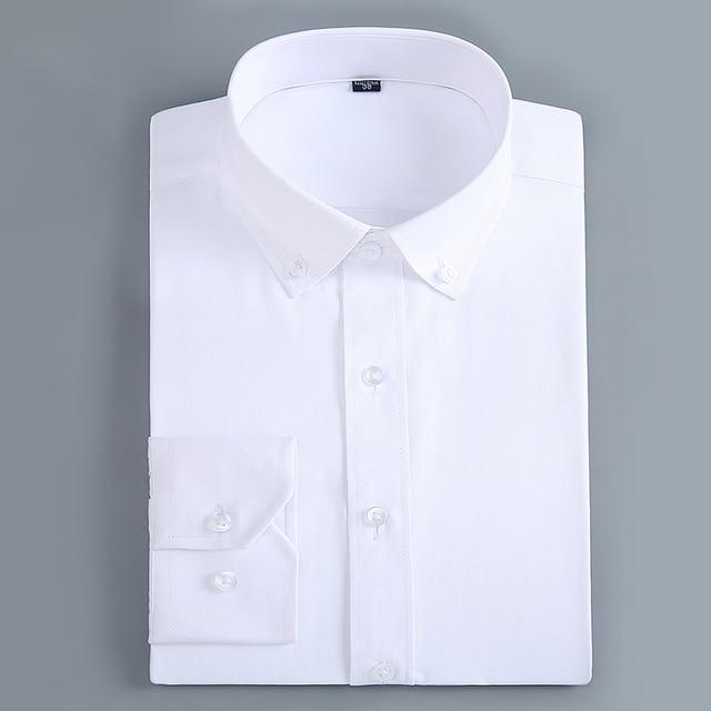 男性のカジュアルスリムフィットボタンダウドレスシャツ長袖固体ビジネスツイルトップフォーマルシンプルな基本設計作業オフィスシャツ
