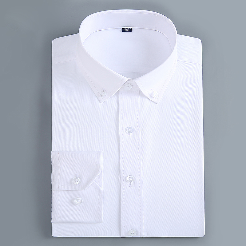 Men's Casual Slim Fit Button Down Dress Shirt Long Sleeve Solid Business Twill Top Formal Simple Basic Design Work Office Shirts