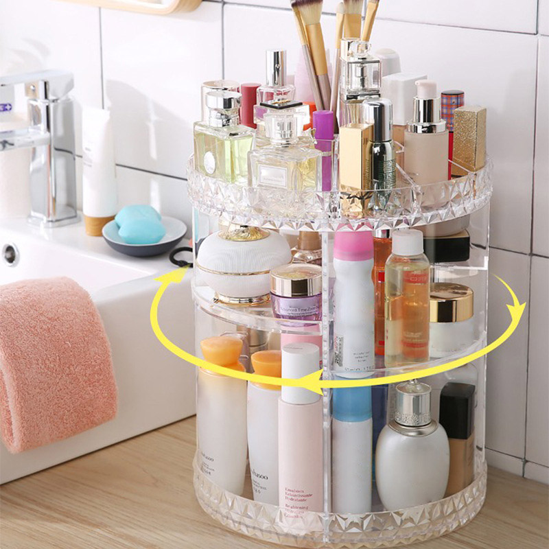 Rotating Acrylic Transparent Cosmetic Storage Box with Multi layer for Daily Use HG99 Storage Boxes & Bins     - title=