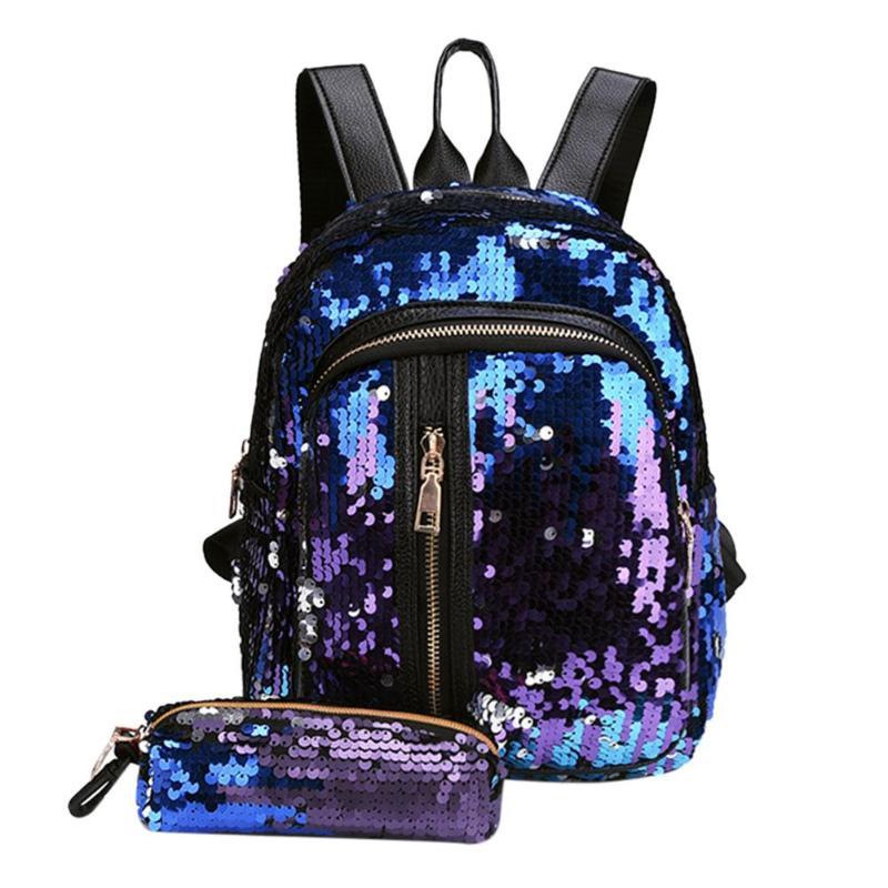 2Pcs/Set Women Backpack Lady Party Gorgeous Sequins Leather Backpack Girls School Backpack Mochila Feminina