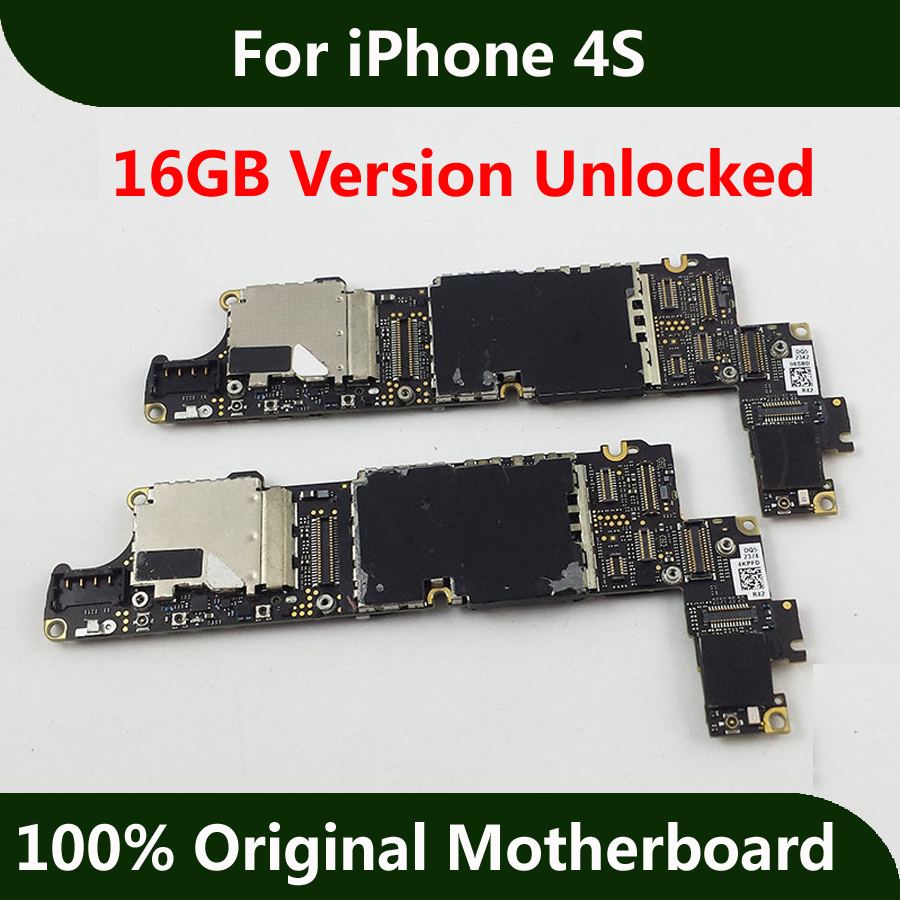 Unlocked Mainboard For iPhone 4S Motherboard 16GB Good Working With Full Chips Original IOS Installed Logic Board