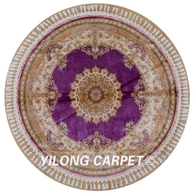 Yilong 5.6 \'x5. 6\' qum 100% soie tapis ronds violet exquis turc fait ...