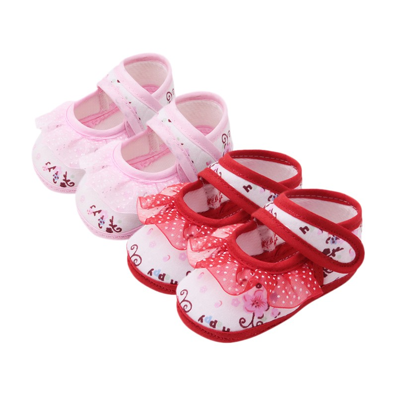 First Walkers 2018 0-18M New Fashion Girls Lace Print Princess Shoes Baby Shoes Baby Toddler Shoes