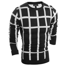 2016 Time-limited Cotton Full New Brand Casual Sweater O-neck Grid Slim Fit Knitting Mens Sweaters And Pullovers Men Pullover