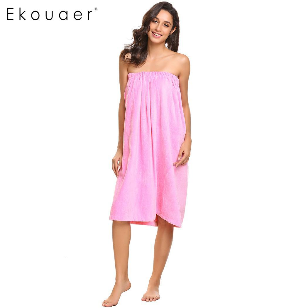 Ekouaer 100% Cotton Soft Women Bathrobes Body Towel Nightwear Solid Spa Wrap Women Robe Sleepwear Female Sexy Bath Robe