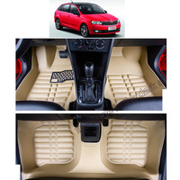 lsrtw2017 fiber leather car floor interior mat for skoda rapid spaceback 2013 2014 2015 2016 2017 2018