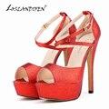 Loslandifen imprimir Glitter plataforma lâminas dedo aberto cor de Patch grossas sandálias de salto alto verão sapatos femininos sandálias 817-8GLITTER
