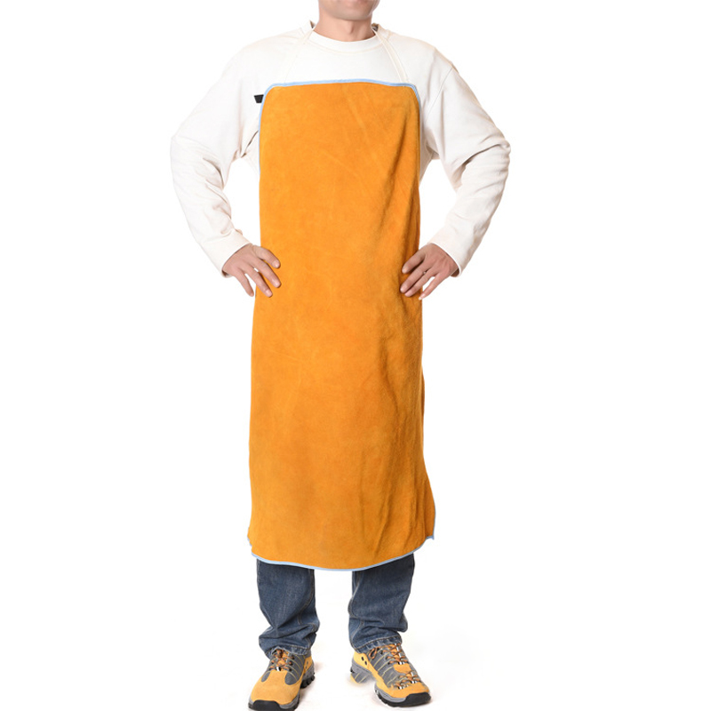 Brand Full Cowhide Leather Safurance Welders Apron Workplace Safety Clothing Heat Resistant Fire-resistant Yellow Self Protect safurance for welders apron heat resistant welding equipment heat insulation protection cow leather apron workplace safety