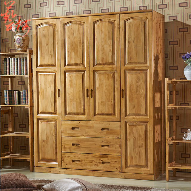 Cedar Wood Wardrobe Sliding Doors Four Large Closet Chinese Furniture Insect Proof Child