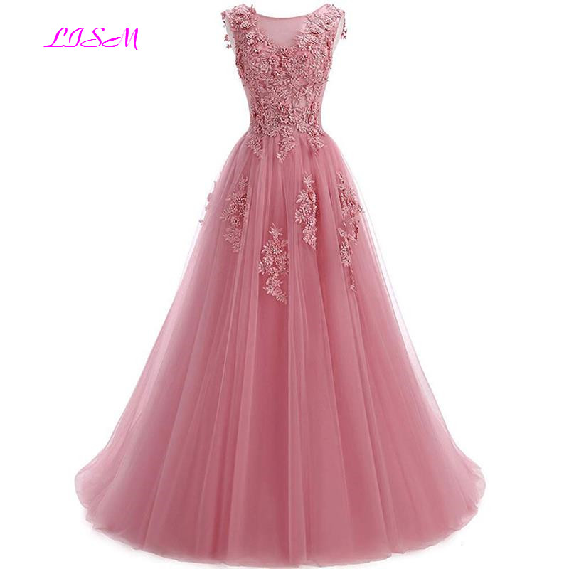 Lace Appliques Scoop Collar Tulle A-Line Prom Dresses Long Sleeveless Beaded Formal Party Gowns vestidos de gala