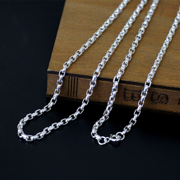 Character silver items S925 pure silver ornaments hand Thai silver refined unisex sautoir square chain necklace