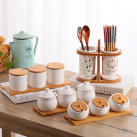 Kitchen supplies ceramic seasoning jar three sets of creative seasoning bottle seasoning box set home