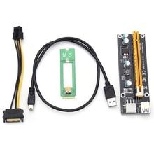 4 шт. M2 NGFF к 16X SATA 15PIN Extender Riser Card Adapte cabler USB 3.0 Новый Extender карты SATA 15pin штекерным 6pin Мощность кабель
