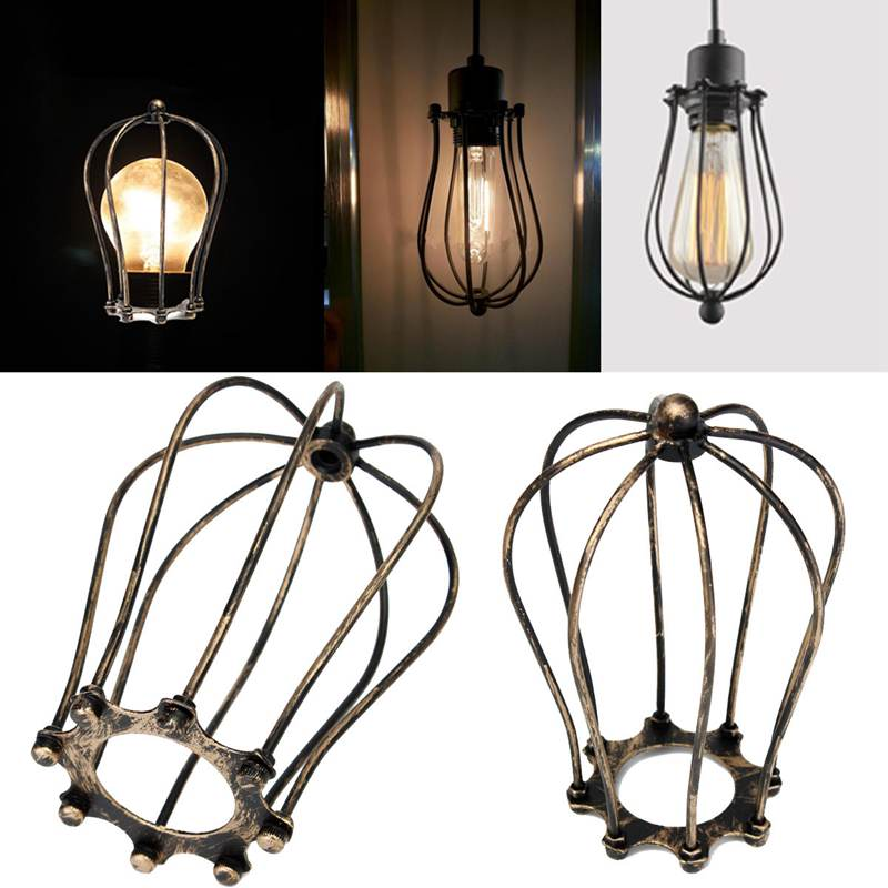 Bronzed Retro Vintage Industrial Metal Iron Wire Bulb Cage Guard ...