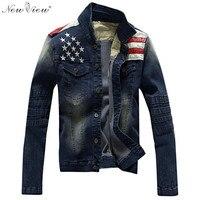Denim Jacket Men American Army USA Design Slim Style Jeans Jacket Plus Size XXXL Mens Jackets