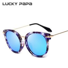 LUCKY PAPA Cat Eye Polarized Gradient Sunglasses Elegant Lady Sunglasses Mirror Color Coating Sunglasses font b