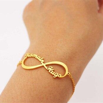 Cadena de oro personalizado símbolo del infinito pulsera para mujeres personalizado dos nombres Erkek Bileklik joyería de Boda REGALOS de dama de honor