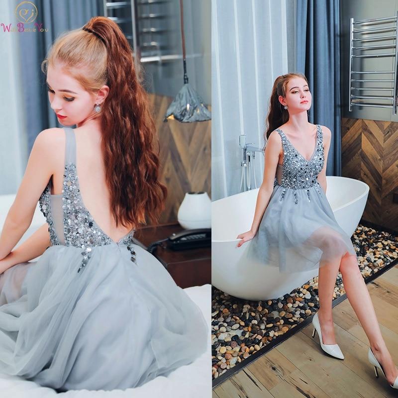 2019 Sequined   Cocktail     Dresses   Elegant Short A Line Tulle Prom Gowns Illusion V Neck vestidos de cocktel graduacion corto 2019