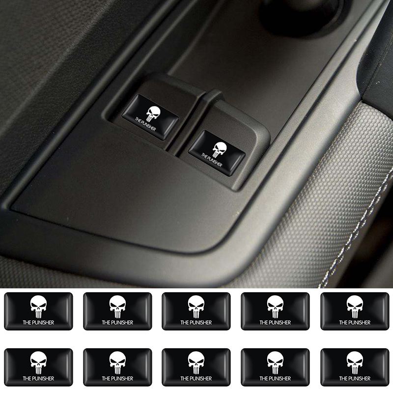 10pc The Punisher Skull Reflective Personalized Car Stickers Motorcycle Decals For Volkswagen BMW Audi Suzuki Honda Hyundai Lada