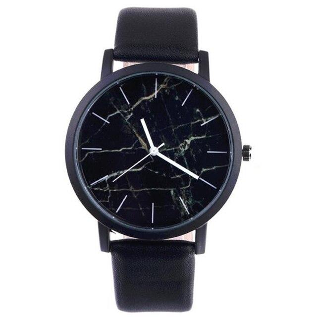 2017 New Fashion Black Leather Analog Clock Ladies' Watch Classic Marble Quartz