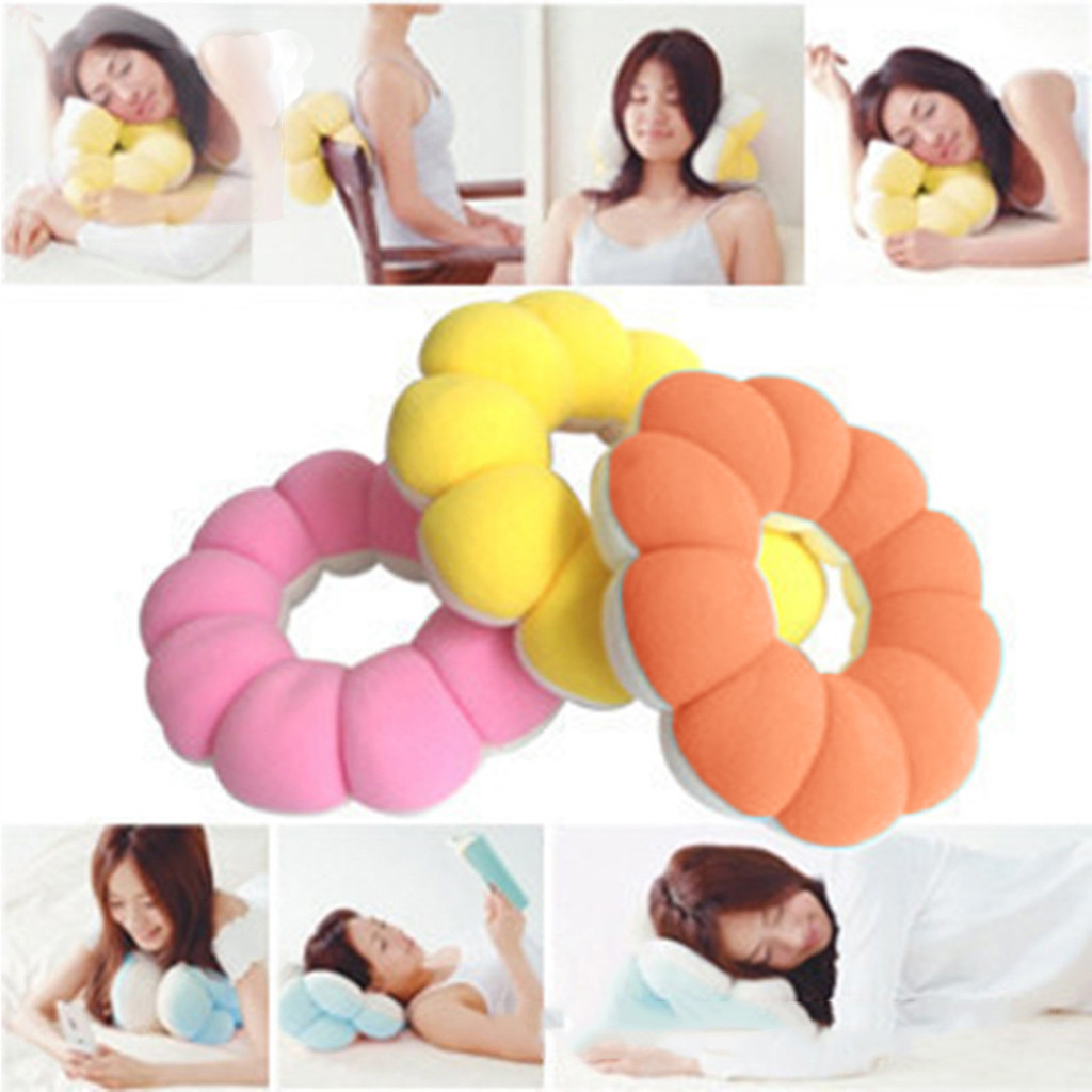 soft solid flower shape multifunctional donut cushions and travel pillows