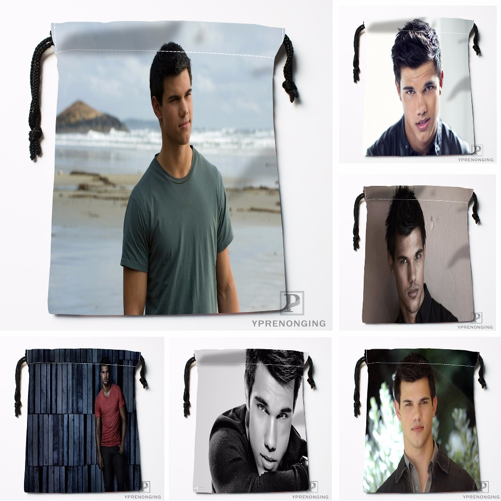 Custom Taylor Lautner Drawstring Bags Travel Storage Mini Pouch Swim Hiking Toy Bag Size 18x22cm#0412-03-39