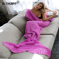 Warm Knitted Mermaid Tail Blanket Sleep Bottoms Chic Kids Adult Sofa Sleeping Bag Autumn Soft Handmade Crochet Wrap Bedding