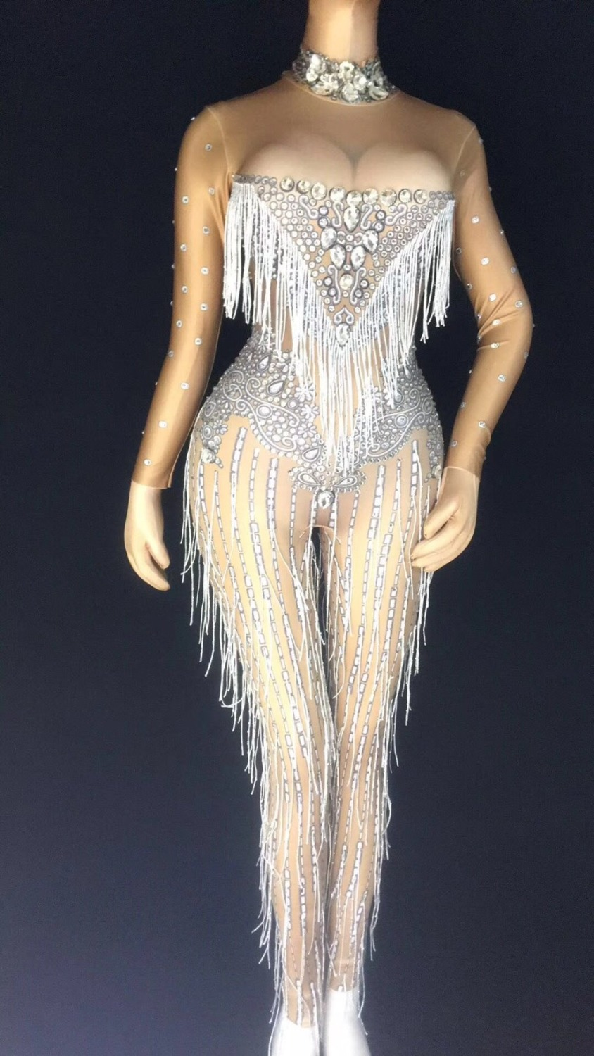 Silver Crystals Tassel Sexy Bodysuit Women Stage Show Dance Jumpsuit Costume One-piece Fringes Stretch Spandex Rompers Clothes