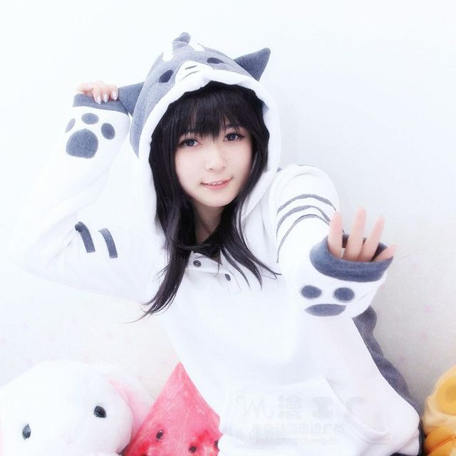 New Arrival Neko Atsume Kawwii Cosplay Costume Anime Cat Backyard Flannel Hooded Sweatershirts Winter Fleece hoodies 110301