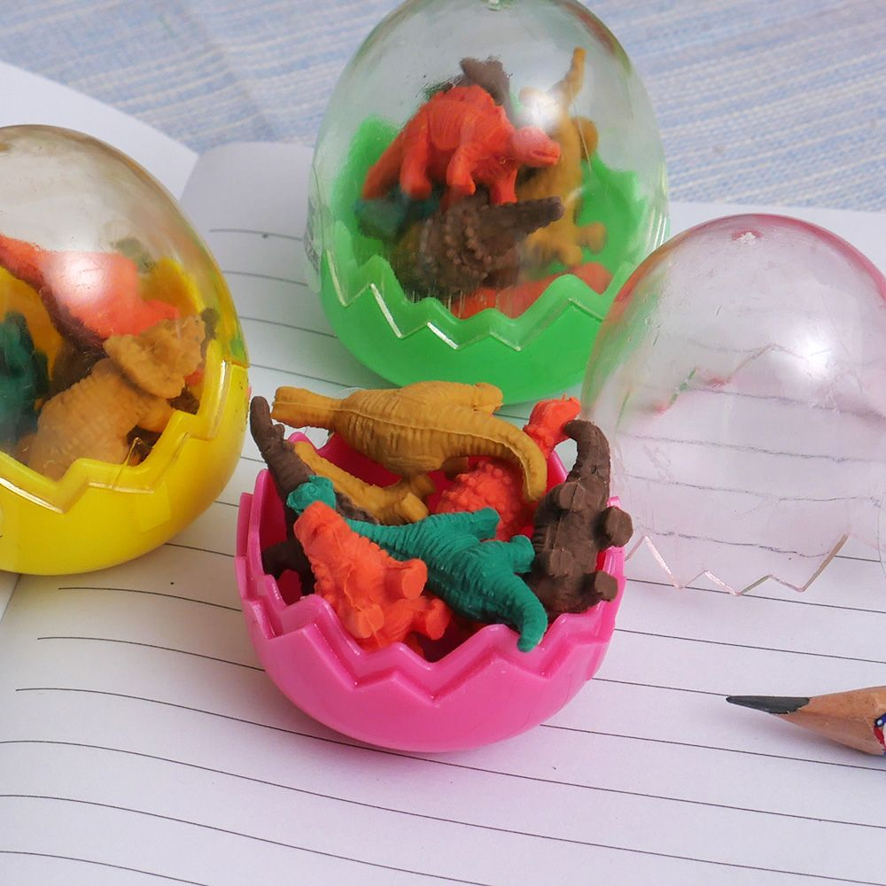 7Pcs/Set Mini Rubber Eraser Cute Dinosaur Egg Eraser Box School Stationery Office Supplies Random Color 5*4cm Children Tool