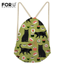 FORUDESIGNS Black Cat Wine Cartoon Travel Drawstring Storage Backpack Pocket Training Gym Bag For Shoes Female Pouch Softback