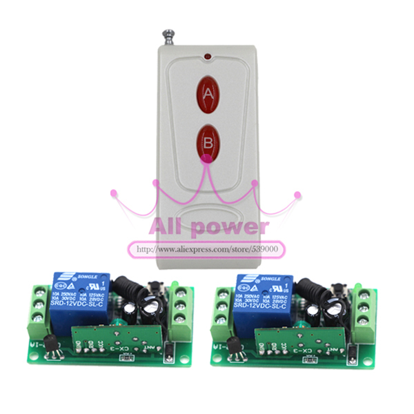 Free shipping 12V 1ch wireless remote control switch system 1 transmitter & 2 receiver relay smart house z-wave new dc12v 1ch rf wireless remote control switch system 4pcs transmitter 2pcs receiver teleswitch relay smart house z wave