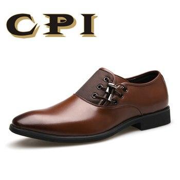 CPI Da Marca 2018 Dos Homens Novos das Sapatas de Vestido Tamanho 38-48 Preto Clássico ponto Toe Oxfords Para Homens Moda Mens Negócios Sapatos de Festa ZY-07